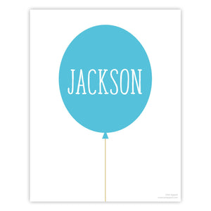 Blue Personalized Balloon Art Print