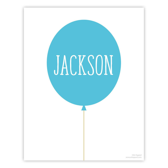 "Balloon Personalized Kids Wall Art Print 12"" x 18"" - Eight Colors"