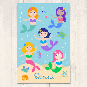 "Sea Mermaids Personalized Kids Wall Art Print 12"" x 18"""