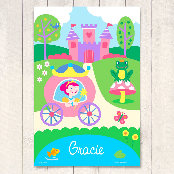 "Princess & Castle Personalized Wall Art Print 12"" x 18"""