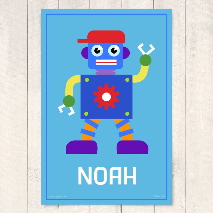 "Robot Personalized Kids Wall Art Print 12"" x 18"""