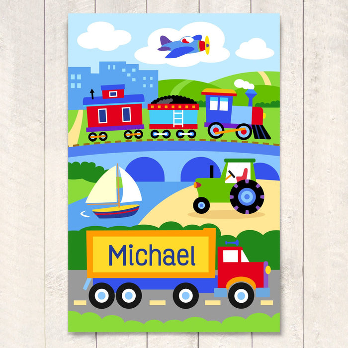 "Train Plane Truck Personalized Kids Wall Art Print 12"" x 18"""