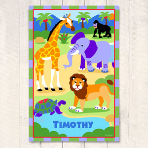 "Safari Jungle Animals Personalized Kids Wall Art Print 12"" x 18"" Elephant Lion Giraffe"