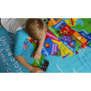 "USA State Map Educational Play Rug 39"" x 80"""