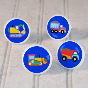 Construction Trucks 4pc Kids Small Ceramic Drawer Knob Set 1 1/2""