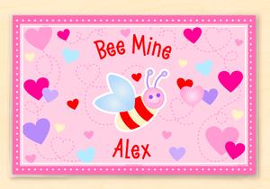 "Valentine's Day Bee Mine Personalized Placemat 18"" x 12"" with Alphabet"
