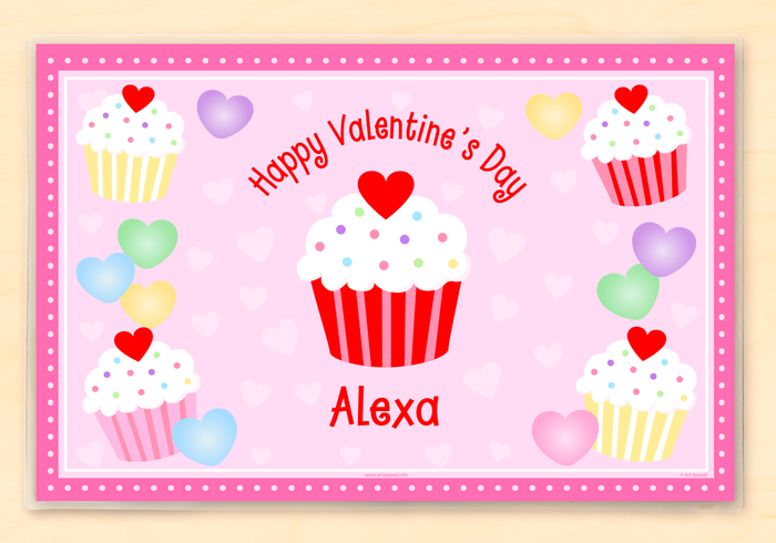 "Valentine's Day Cupcakes Personalized Placemat 18"" x 12"" with Alphabet"