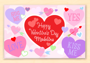 "Valentine's Day Cupid Hearts Personalized Placemat 18"" x 12"" with Alphabet"