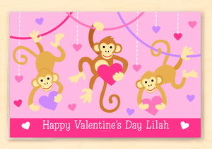 "Valentine Monkeys Personalized Placemat 18"" x 12"" with Alphabet"