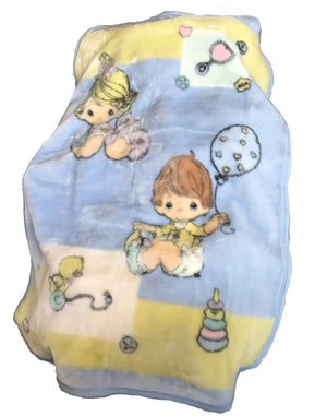 "Precious Moments Baby Blanket Luxury High Pile Plush Throw 30"" x 45"" Balloons & Toys Boy Girl Baby Shower Gift"