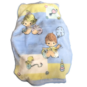 Vintage Precious Moments Fleece Baby Blanket Boy Girl