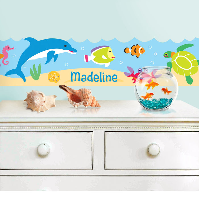 Tropical Ocean Fish & Dolphins Peel & Stick Kids Personalized Wall Border