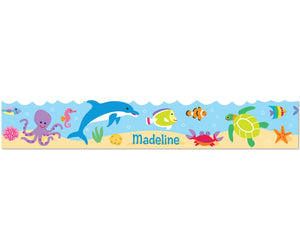 Tropical Ocean Fish & Dolphin Peel & Stick Kids Personalized Wall Border