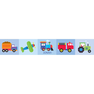 Trains Airplanes Trucks Personalized Peel & Stick Wall Border