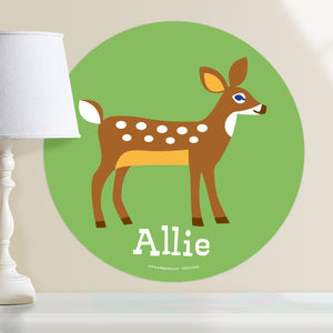 "Woodland Deer Wall Decal 12"" Peel & Stick Personalized Sticker"