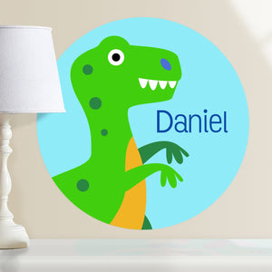 "Green Dinosaur T-Rex Wall Decal 12"" Peel & Stick Personalized Sticker"