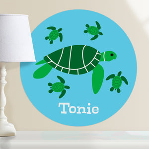 "Ocean Turtles Wall Decal 12"" Peel & Stick Personalized Sticker"