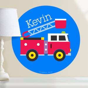 "Fire Truck Wall Decal 12"" Peel & Stick Sticker Personalized"