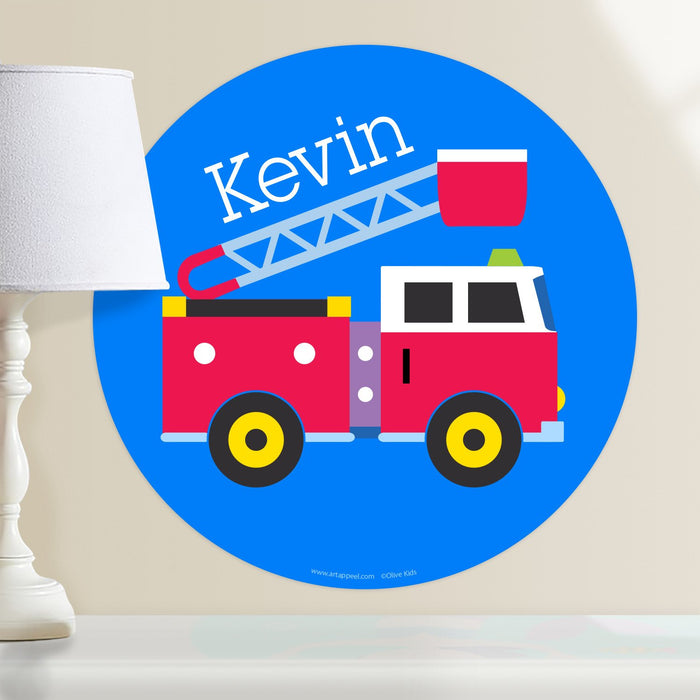 "Red Fire Truck Ladder Wall Decal 12"" Peel & Stick Personalized Sticker"