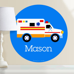 "Ambulance Wall Decal 12"" Peel & Stick Personalized Sticker"