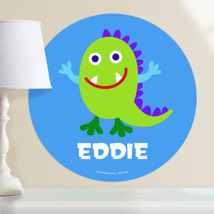 "Smiling Green Monster Wall Decal 12"" Peel & Stick Personalized Sticker"