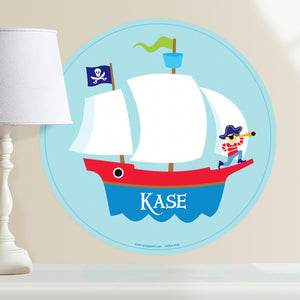 "Pirate Ship Wall Decal 12"" Peel & Stick Personalized Sticker"