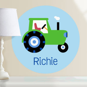 "Green Tractor Wall Decal 12"" Peel & Stick Personalized Sticker"