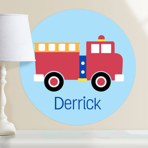 "Red Fire Truck Wall Decal 12"" Peel & Stick Personalized Sticker"