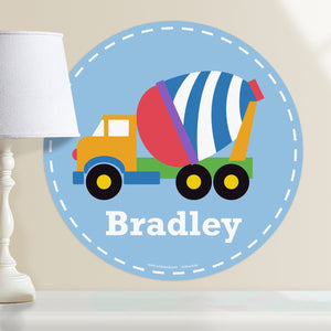 "Cement Mixer Truck Wall Decal 12"" Peel & Stick Fabric Sticker Personalized"