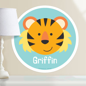 "Baby Tiger Safari Animal Wall Decal 12"" Peel & Stick Personalized Sticker"
