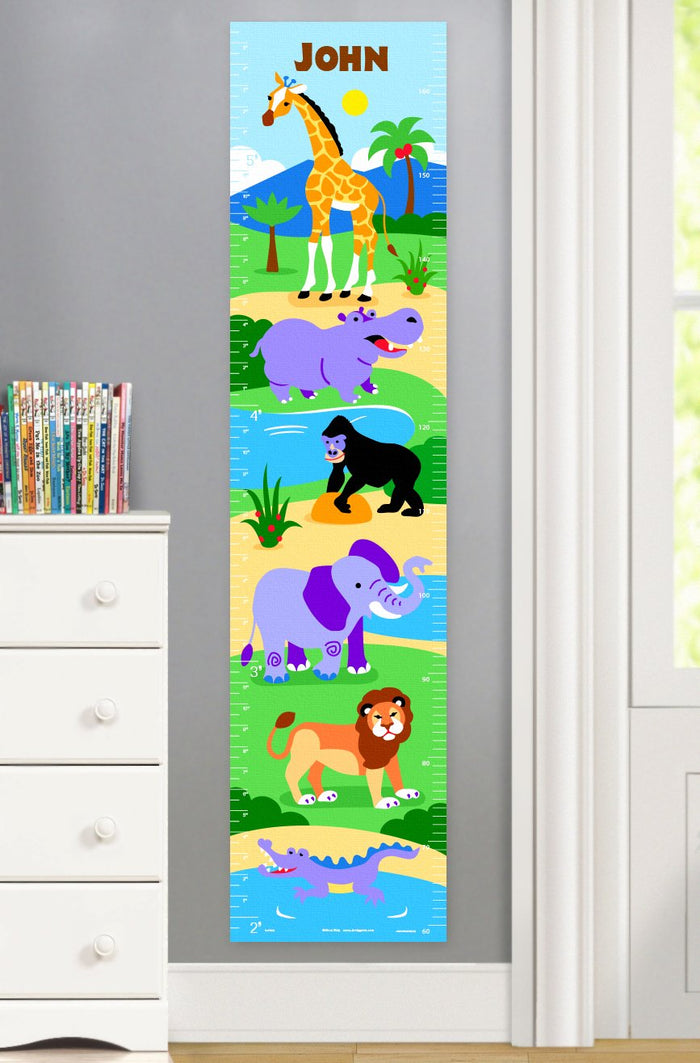 Kids Jungle Safari Wild Animals Personalized Height Growth Chart Self-Adhesive or Canvas