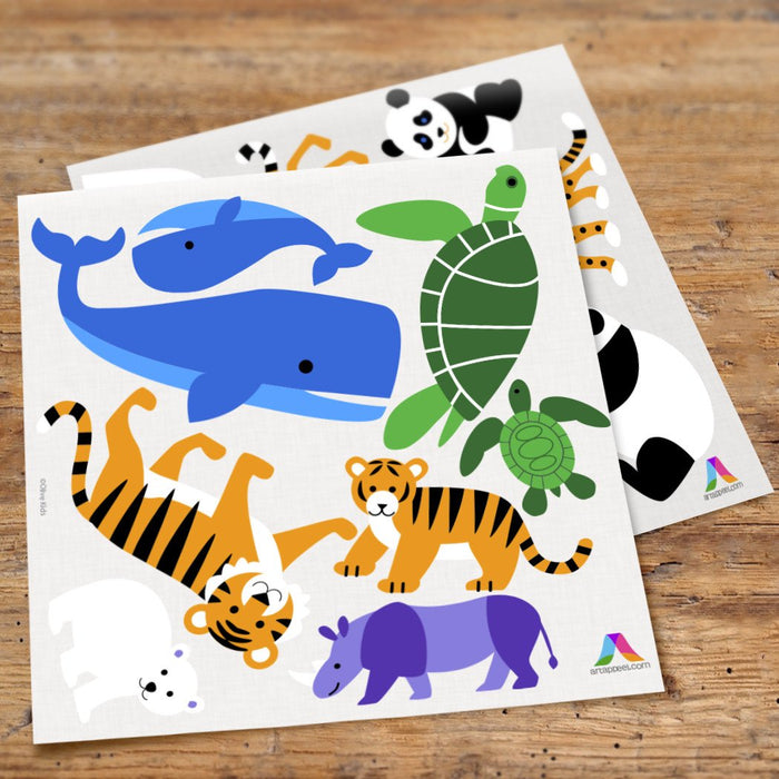 Wild Animals Wall Decals Peel and Stick Stickers - Whale Turtle Tiger Panda