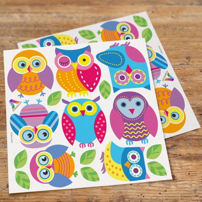 Colorful Owls Girl Wall Decals Peel & Stick Stickers
