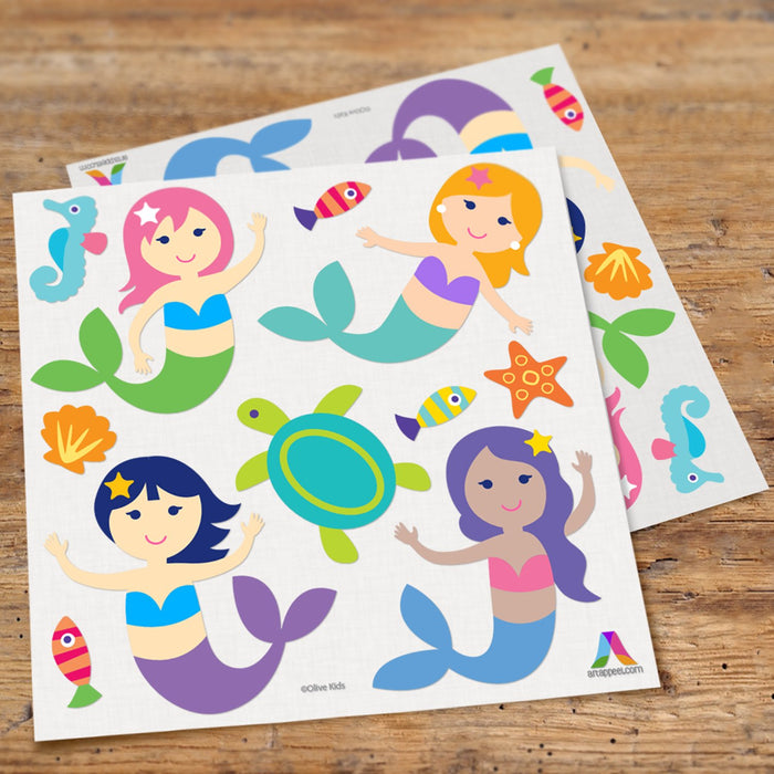 Mermaids Girl Wall Decals Peel & Stick Stickers