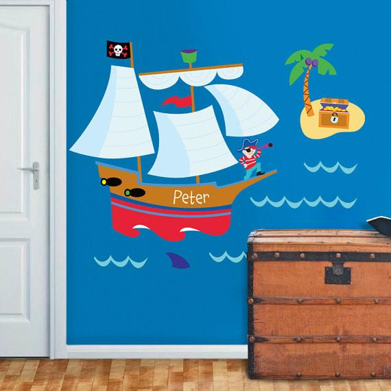 "Jumbo 54"" Pirate Ship Wall Mural - Pirate Treasure Island Personalized Peel & Stick"