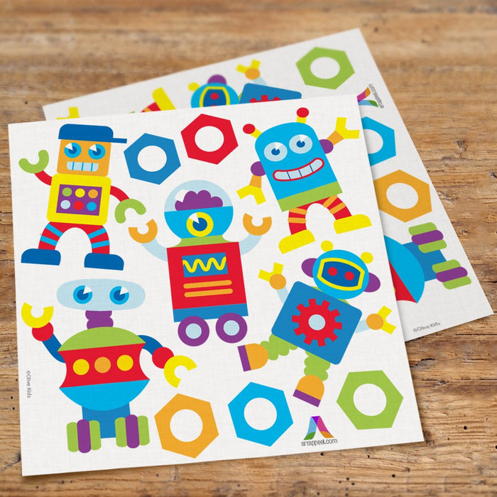 Friendly Robots Kids Wall Decals Peel & Stick Stickers