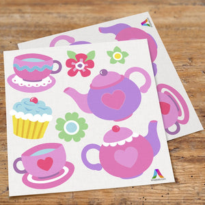 Pink Tea Party Wall Decals Peel & Stick Stickers - Cupcakes & Tea Set