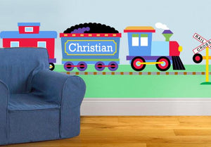 Jumbo Train Wall Mural - Personalized Peel & Stick Giant Decal