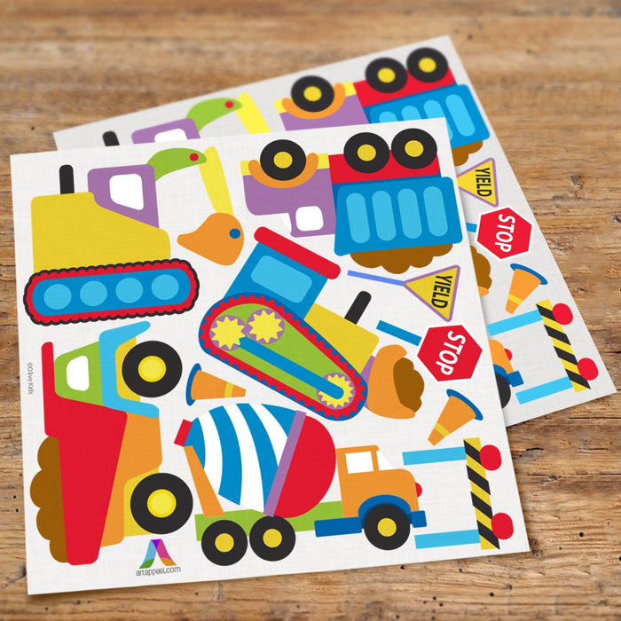 Constructions Trucks Wall Decals for Boys - Peel & Stick Stickers