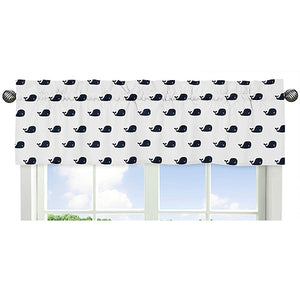 Ocean Fish Whale Print Window Valance Navy Blue White