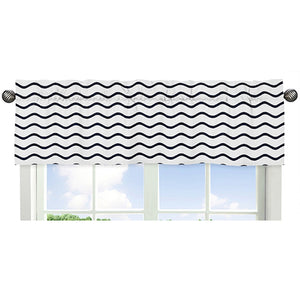 Navy Blue & White Chevron Wave Print Window Valance