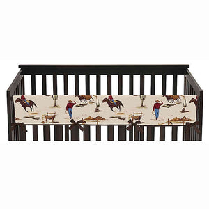 Western Wild West Reversible Long Crib Rail Guard Cover
