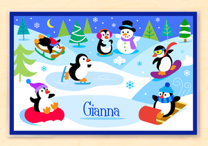 "Winter Penguins Personalized Placemat 18"" x 12"" with Alphabet"