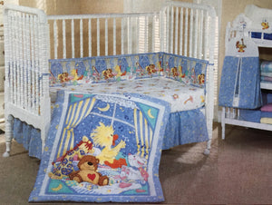 Little Suzy's Zoo Witzy's Lullaby Baby Animals 6pc Blue Crib Bedding Nursery Set - Duck Bear Giraffe Bunny