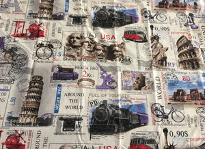World Cities Travel Stamps Bedding Twin Full Queen King Duvet Cover Set - Eiffel Tower New York NYC