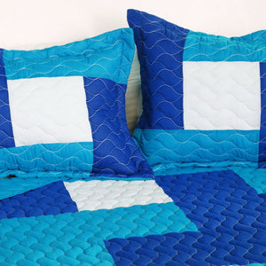 Blue White Modern Patchwork Bedding Teen Boy or Girl Full/Queen Quilt Set Oversized Bedspread