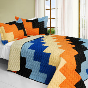 Blue Orange Black Geometric Teen Bedding Full/Queen Quilt Set Patchwork Colorblock Bedspread