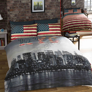 New York Skyline USA American Flag Bedding Full Duvet Cover / Comforter Cover Set Reversible