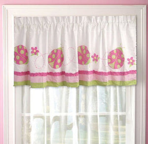 Pink Green Ladybug Ruffled Window Valance