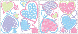Pastel Hearts Wall Stickers Decals Girls Room Decor